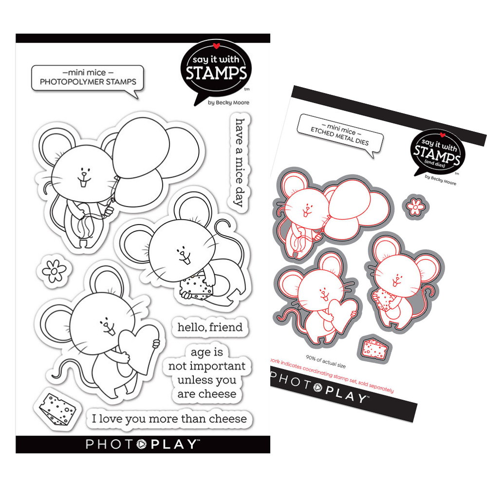 PhotoPlay Say It With Stamps - Mini Mice - Stamp and Die Bundle