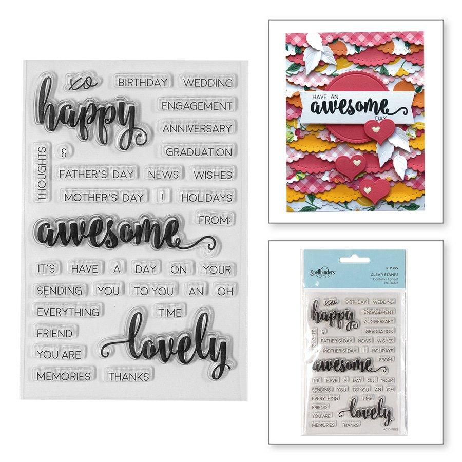 Spellbinders - Happy Sentiments Clear Stamp Set