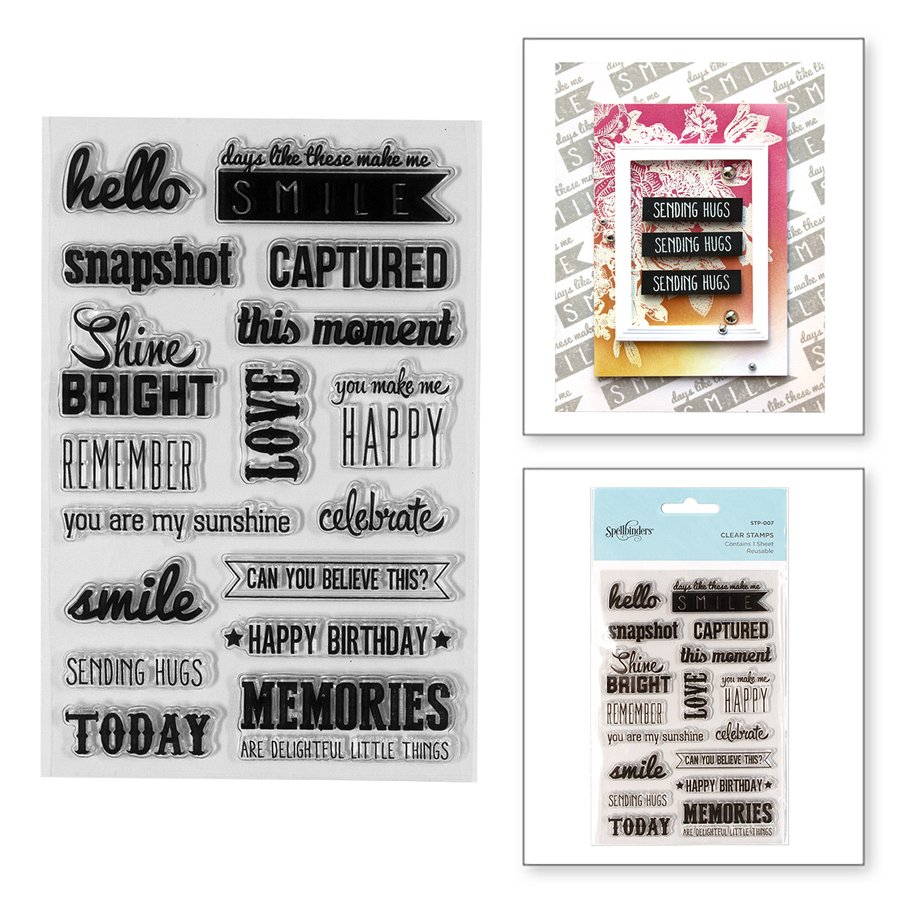 Spellbinders - Captured Sentiments Clear Stamp Set
