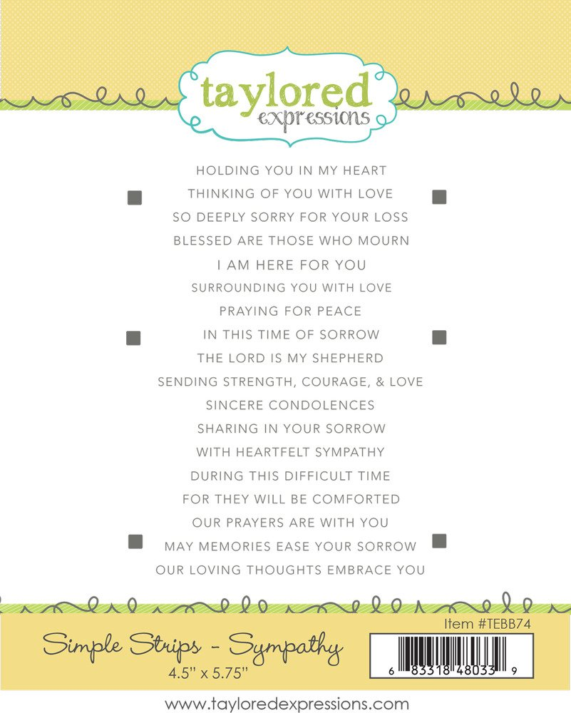 Taylored Expressions Simple Strips Stamp - Sympathy