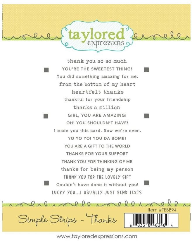 Taylored Expressions Simple Strips Stamp - Thanks