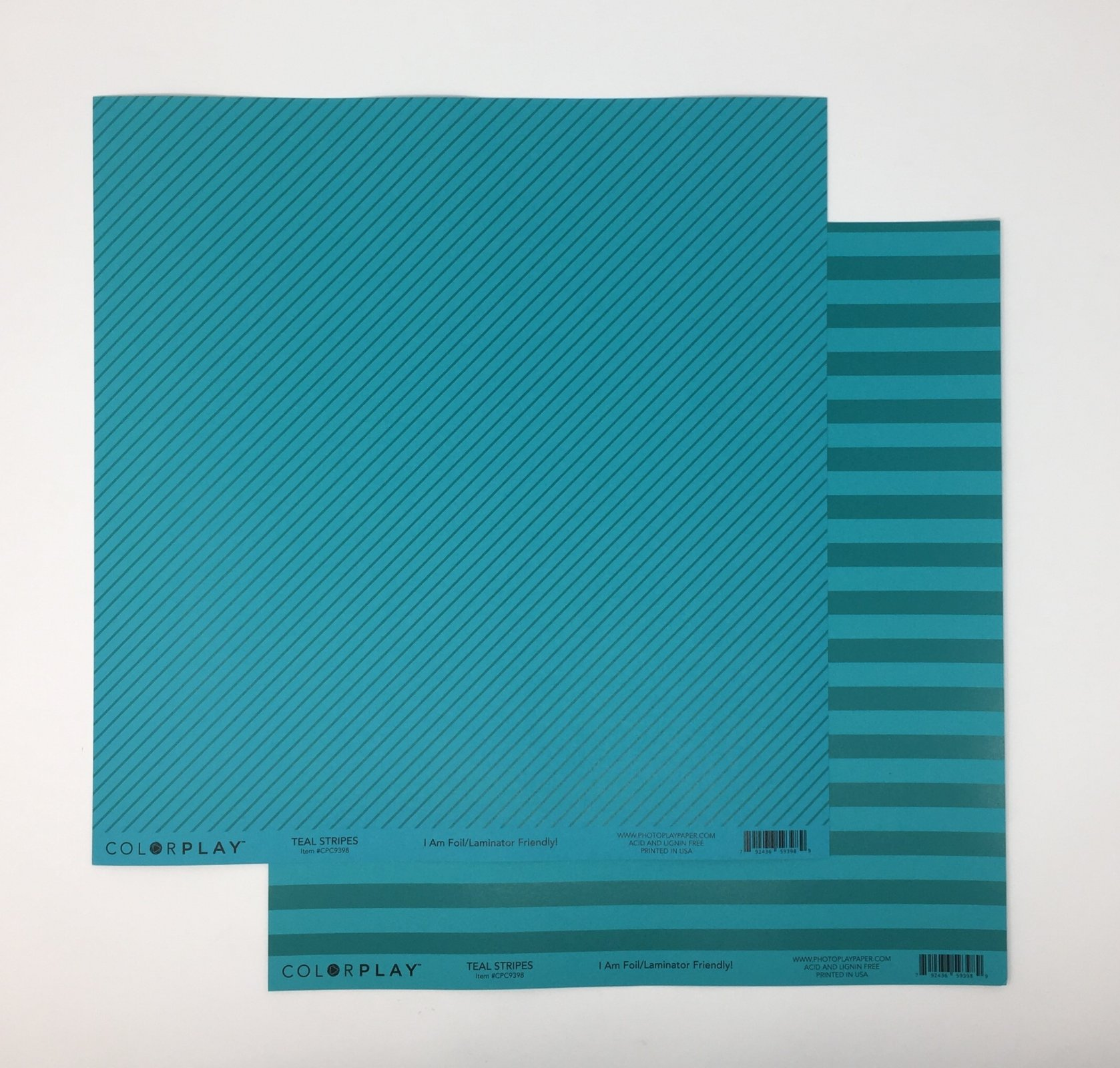 ^ColorPlay 12x12 Cardstock - Teal Stripes (CLEARANCE)