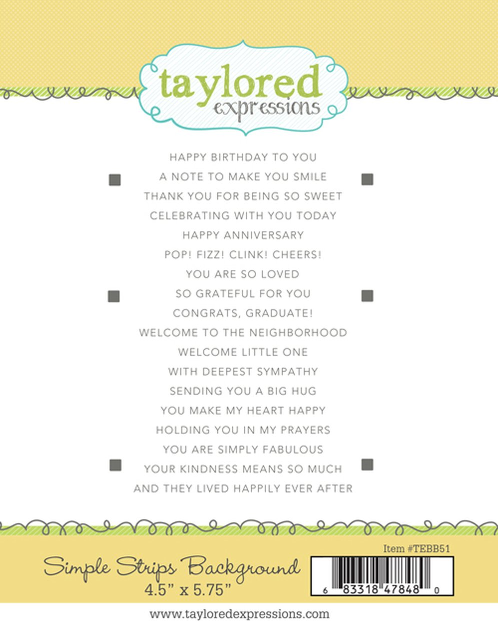 Taylored Expressions Simple Strips Stamp - Background