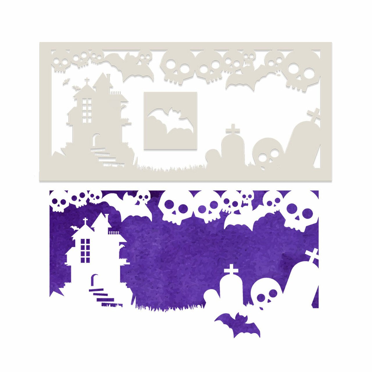 Polkadoodles - Stencil - Terrifying Skulls