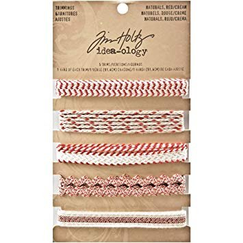 ^Tim Holtz - Idea-ology  Trimmings - Naturals Red/Cream
