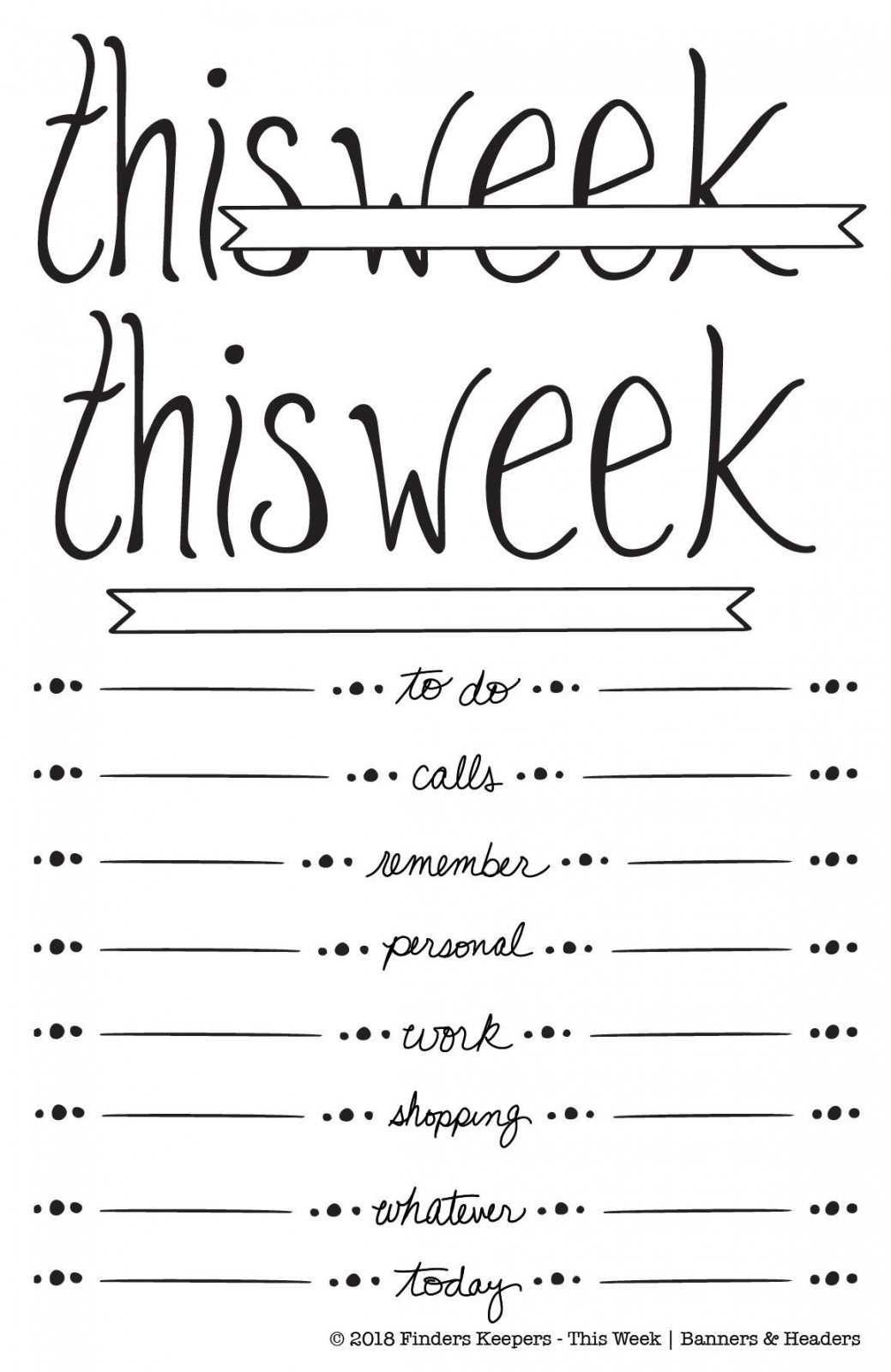 Finders Keepers - Clear Stamps - Jots & Dots This Week Banners & Headers