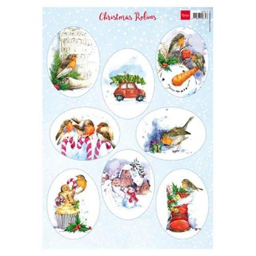 Marianne Design A4 Cutting Sheet - Christmas Robins