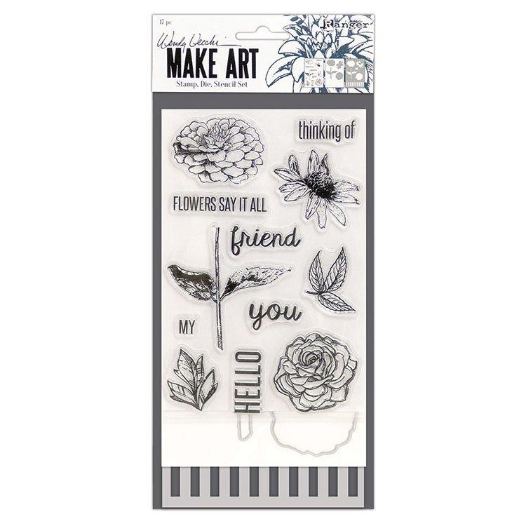 Wendy Vecchi MAKE ART - Flowers Say it All Stamp, Die & Stencil Set