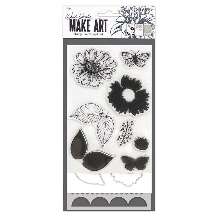 Wendy Vecchi MAKE ART - Country Flowers Stamp, Die & Stencil Set