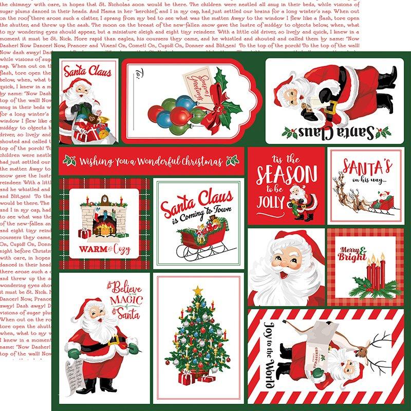 Carta Bella Dear Santa Double-Sided Cardstock 12x12- Multi Journaling Cards