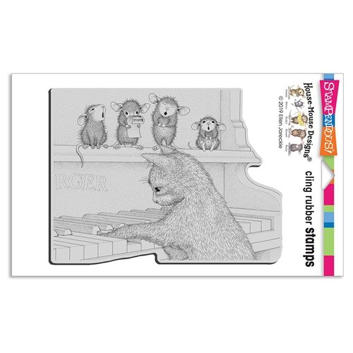 Stampendous House Mouse Cling Rubber Stamps- Kitten on The Keys