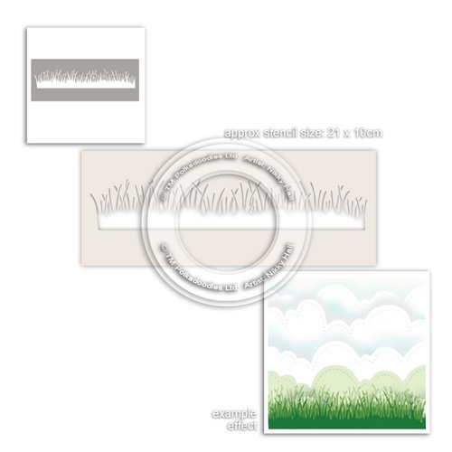 PolkaDoodles Grass Lawn Stencil