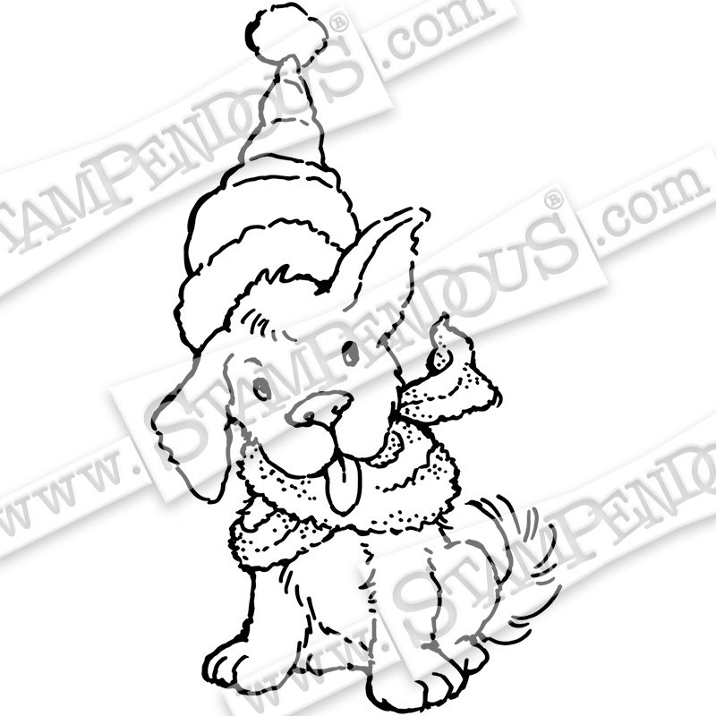 Stampendous Cling Rubber Stamps- Scarf Puppy