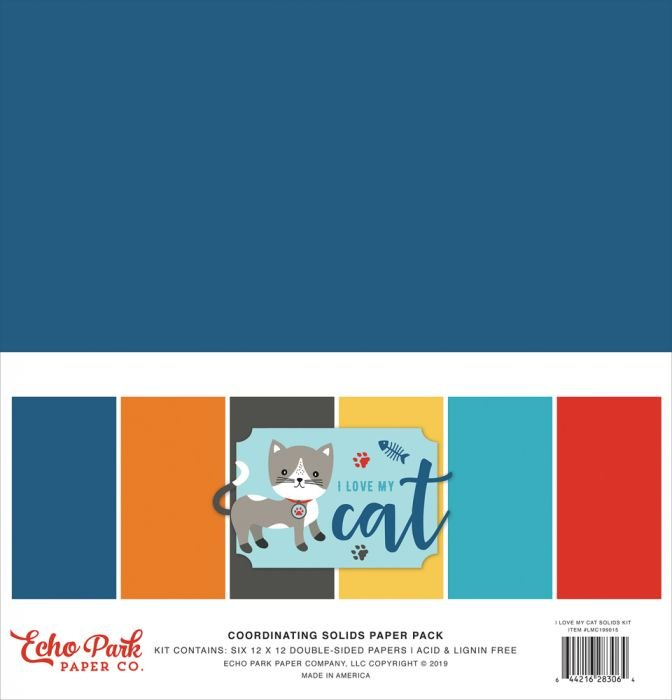Echo Park I Love My Cat Solids Paper Pack 12x12