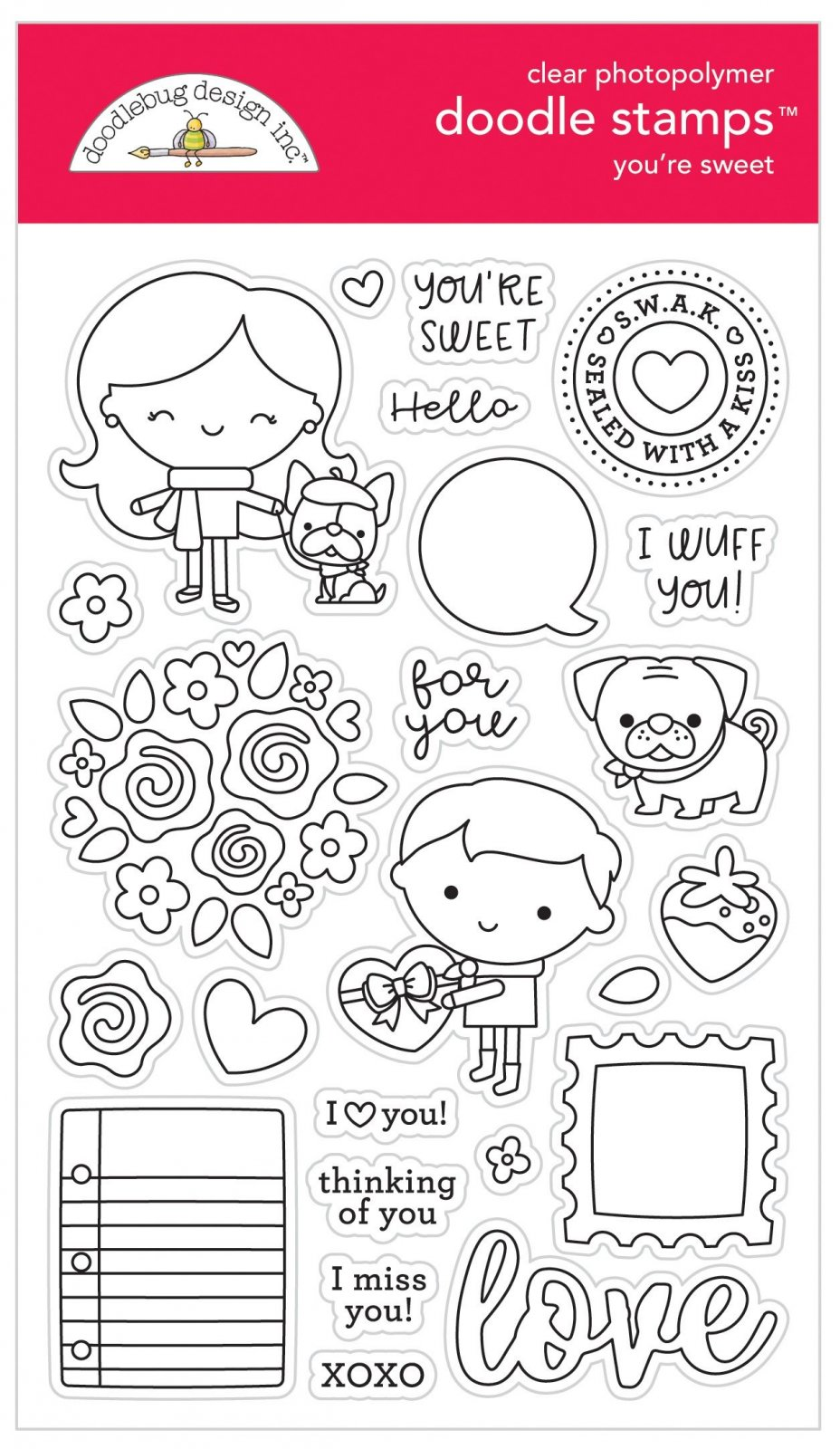 Doodlebug Love Notes Clear Doodle Stamps- You're Sweet