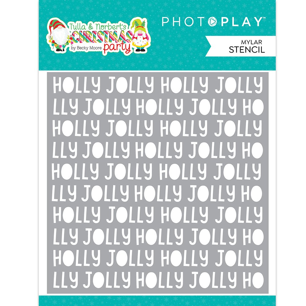PhotoPlay Tulla & Norbet's Christmas Party Stencil 6X6- Holly Jolly Word