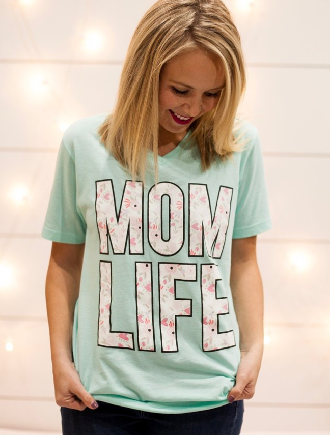 Floral Mom Life tee