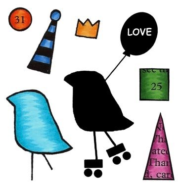 Roller bird Clear stamp set 7pcs Inky Antics