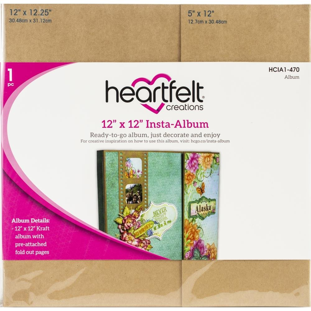 Heartfelt Creations 12x12 Insta-album kit Pre attached fold out pages & craft film strips