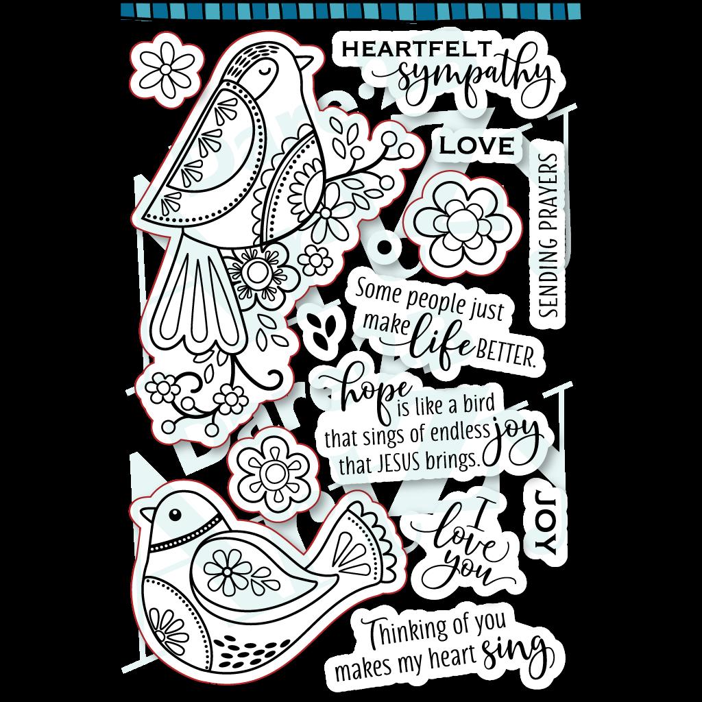 Dare2B Artzy Joyful Robin Stamp Set