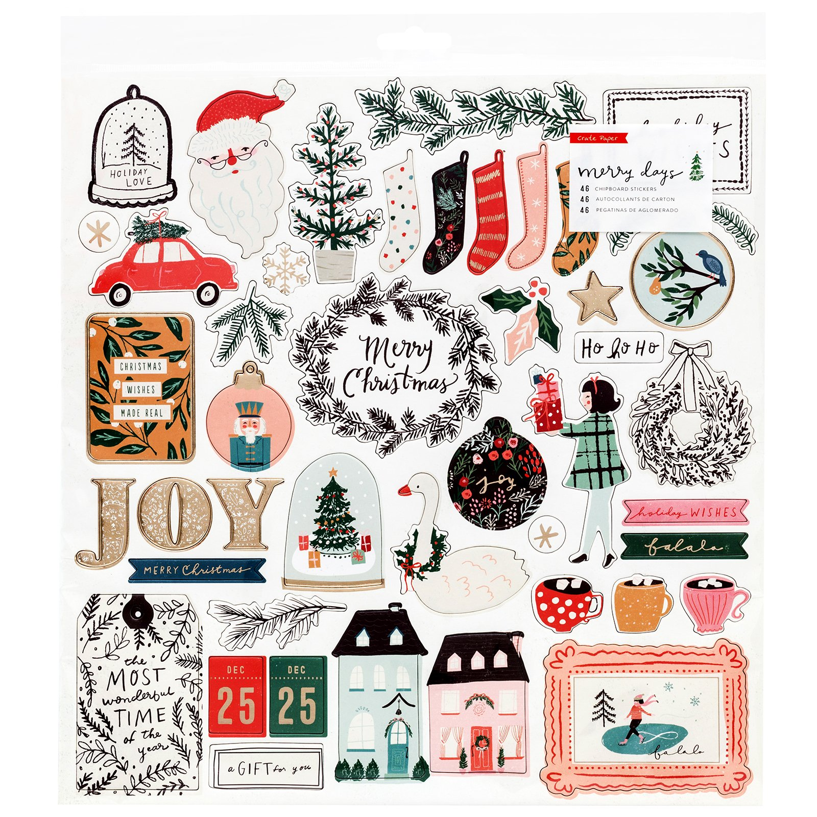 Crate Paper Merry Days Chipboard Stickers
