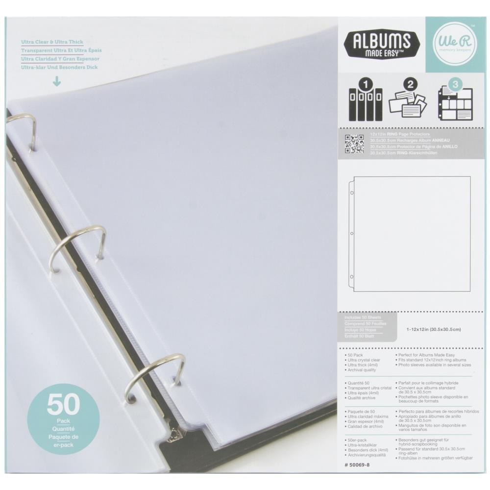 WeRMemory Keepers Ring Page Protectors 12x12 50pc