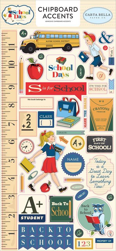 Carta Bella School Days 6 x 12 Chipboard Accents