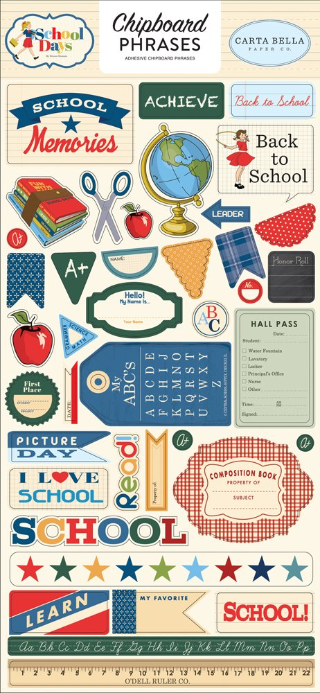 Carta Bella School Days Chipboard Phrases