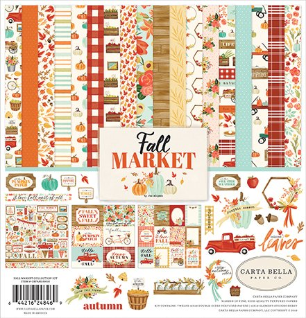 Carta Bella Fall market Collection kit (12 two sided papers, 1 sticker sheet)