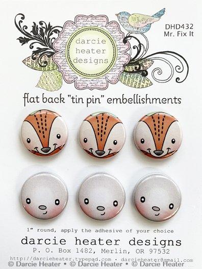 Mr. Fix it Tin pin embellishments 6pcs Darcie Heater designs
