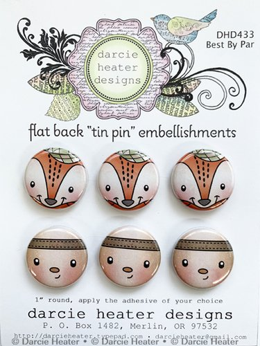 Best by par Tin pin embellishments 6pcs by Darcie Heater designs