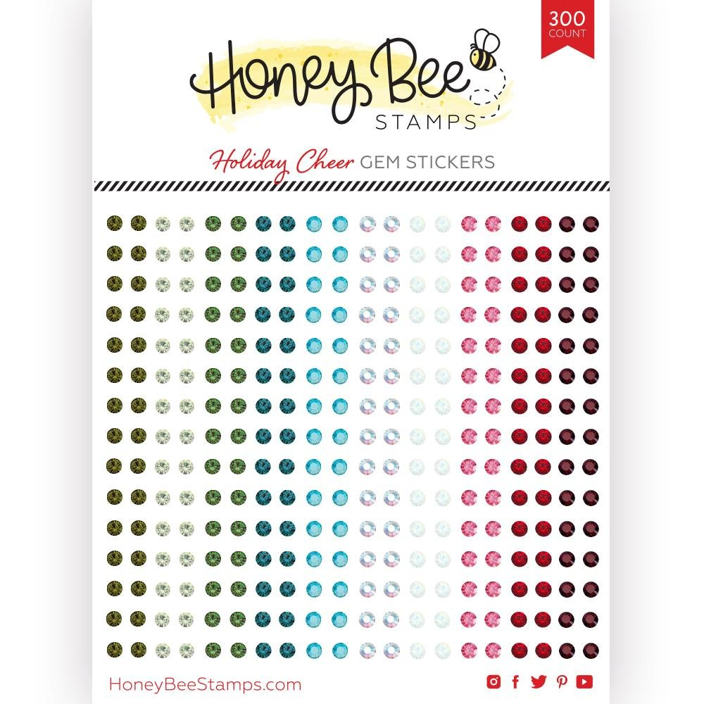 Honey Bee Holiday Cheer Gem Stickers