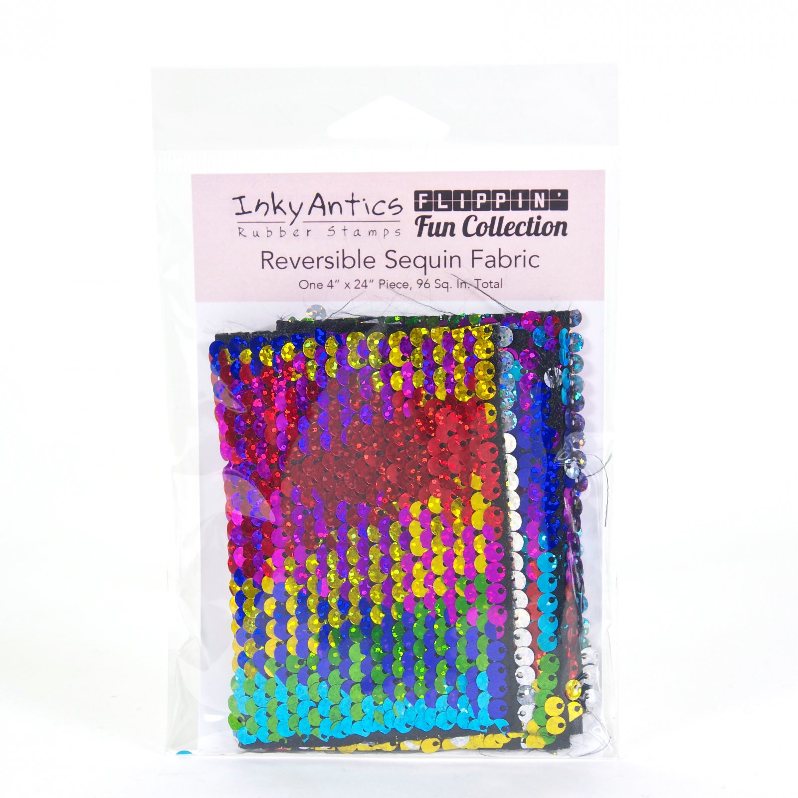 Inky Antics Reversible Sequin Fabric Rainbow to silver