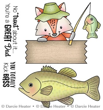 No trout about it Cling stamp set 4pcs