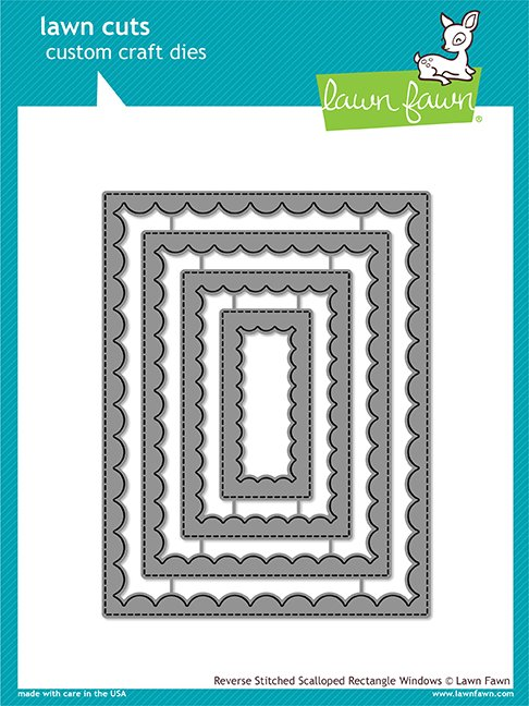 Lawn Fawn Reverse Stitched Scalloped Rectangle Window Die set