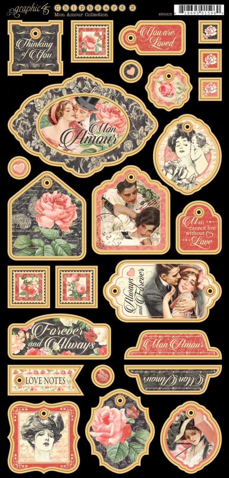 Graphic 45 Mon Amour chipboard stickers