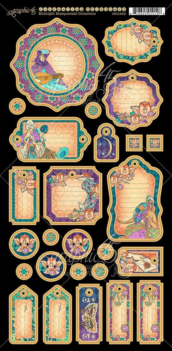 Midnight Masquerade Journaling Chipboard