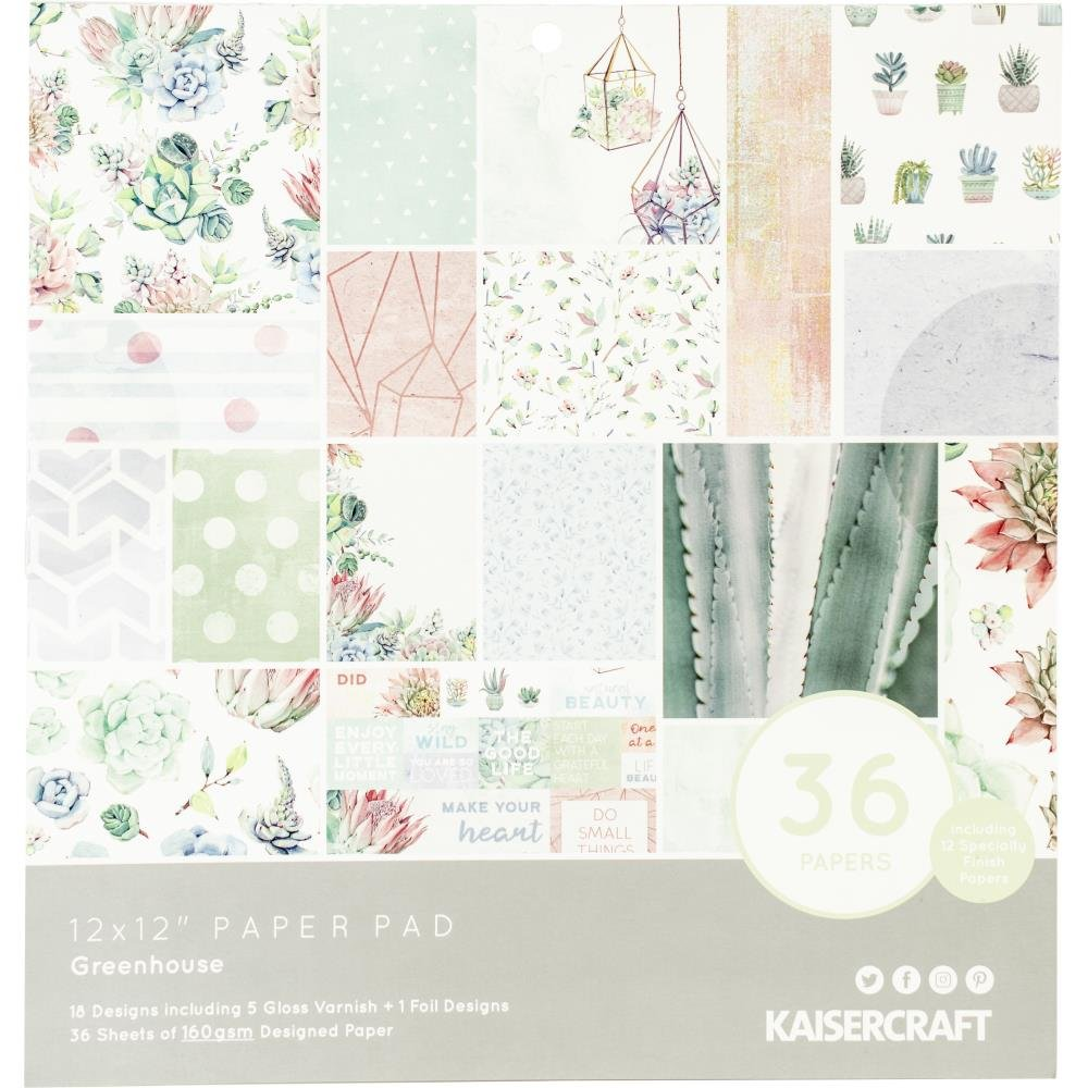 KaiserCraft Greenhouse 12x12 paper pad 18 designs 36 sheets