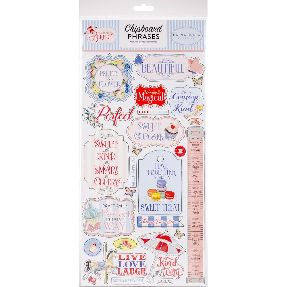 Practically Perfect Chipboard Phrases
