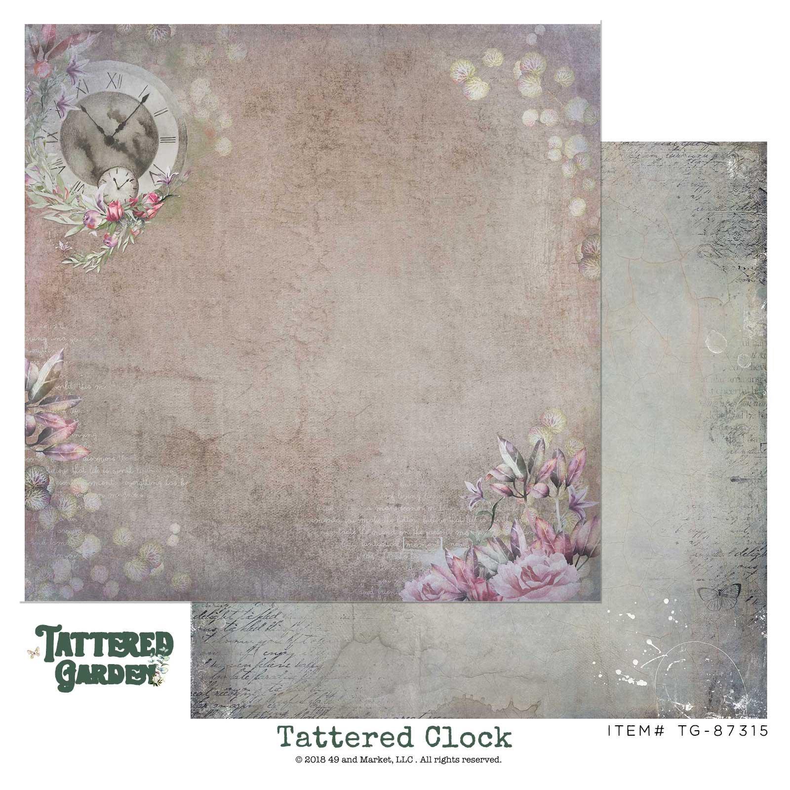 49 & Market Tattered Clock 12x12