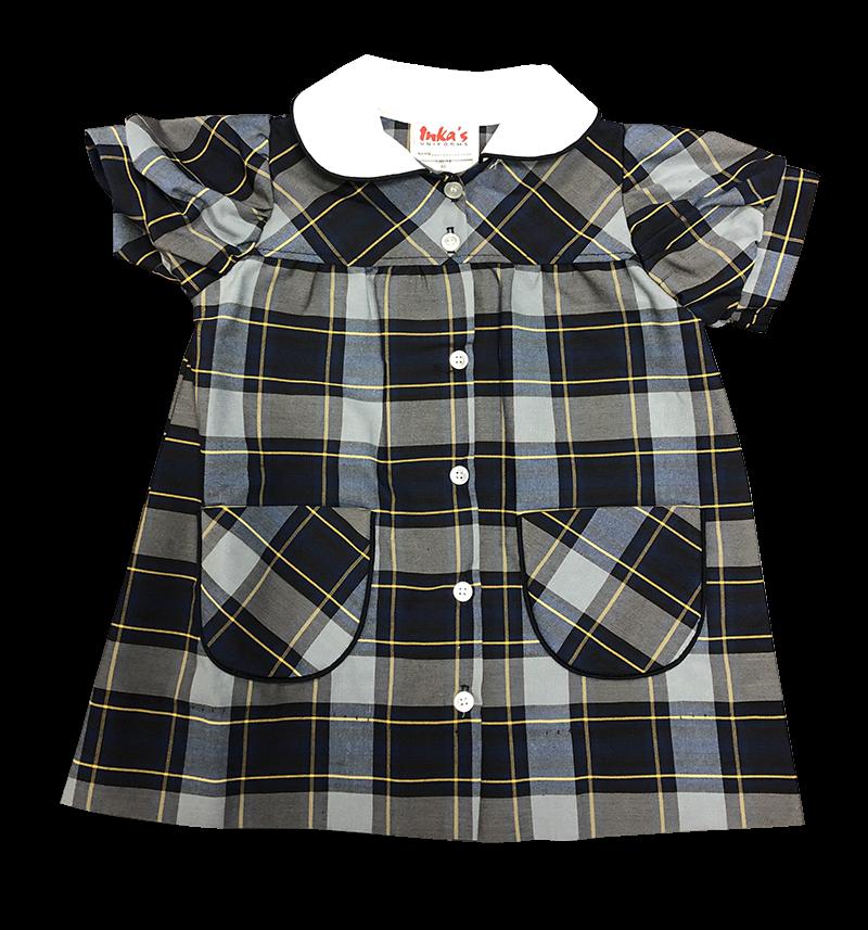 Button Front Dress - Plaid 46