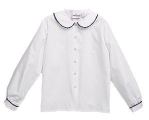 Blouse - L/S Peter Pan with Navy Piping