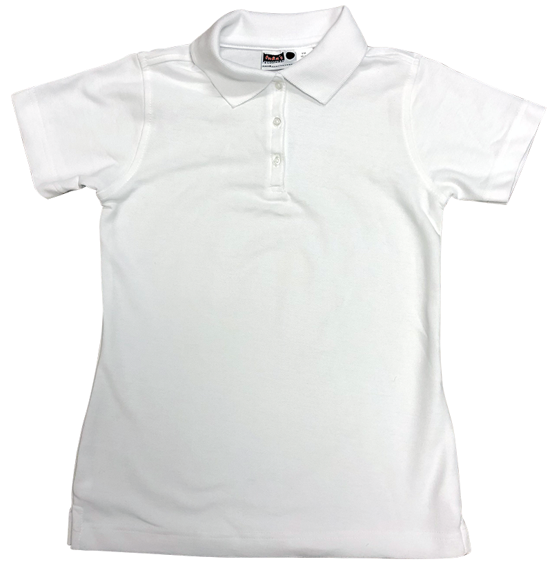 Girls Short Sleeve Fitted Pique Knit - White
