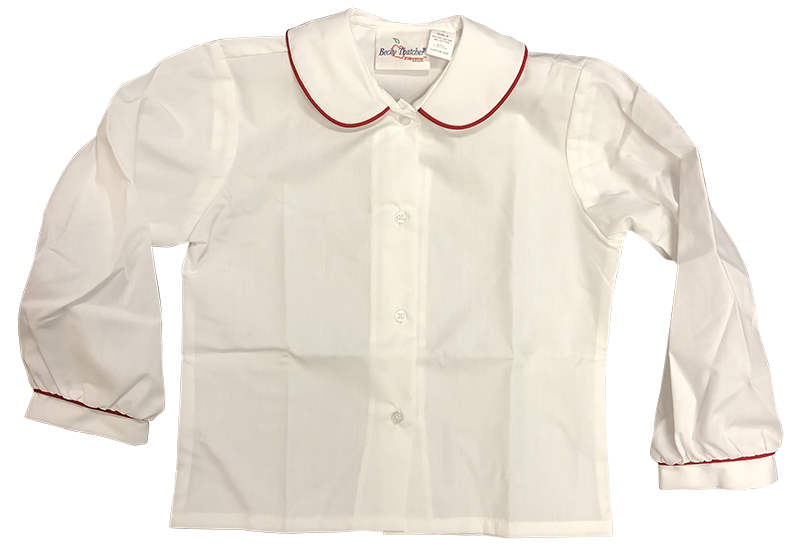 Blouse - L/S Peter Pan with Red Piping