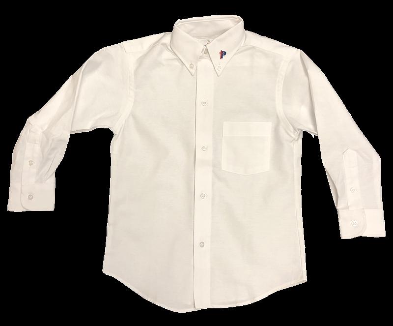 PBS Mens Oxford - Long Sleeve - White
