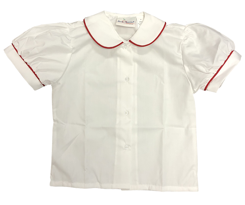 Blouse - S/S Peter Pan with Red Piping