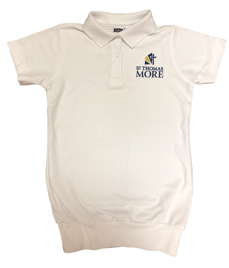 STM Short Sleeve Banded Bottom Pique Knit: White