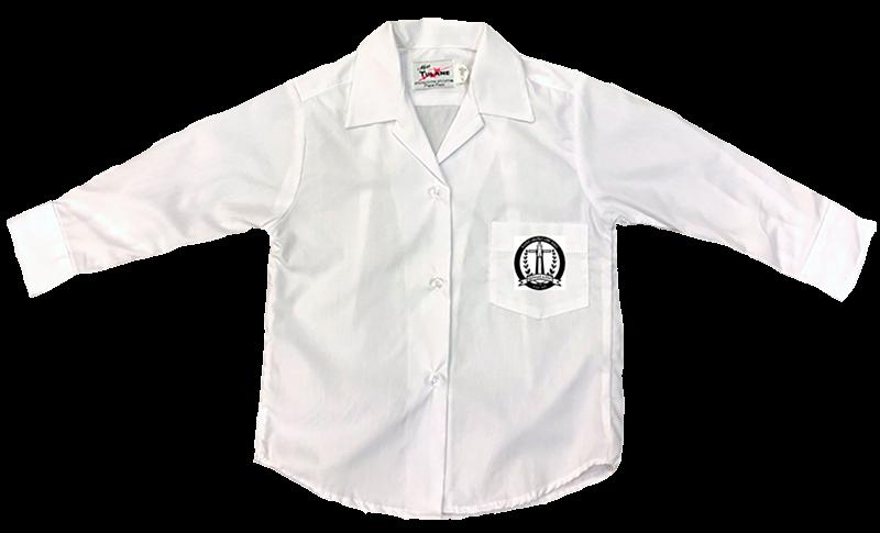 St. Rita L/S Sports Collar Blouse - White