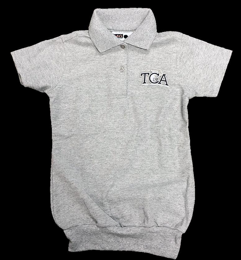 TCA Short Sleeve Banded Bottom Pique Knit: Grey