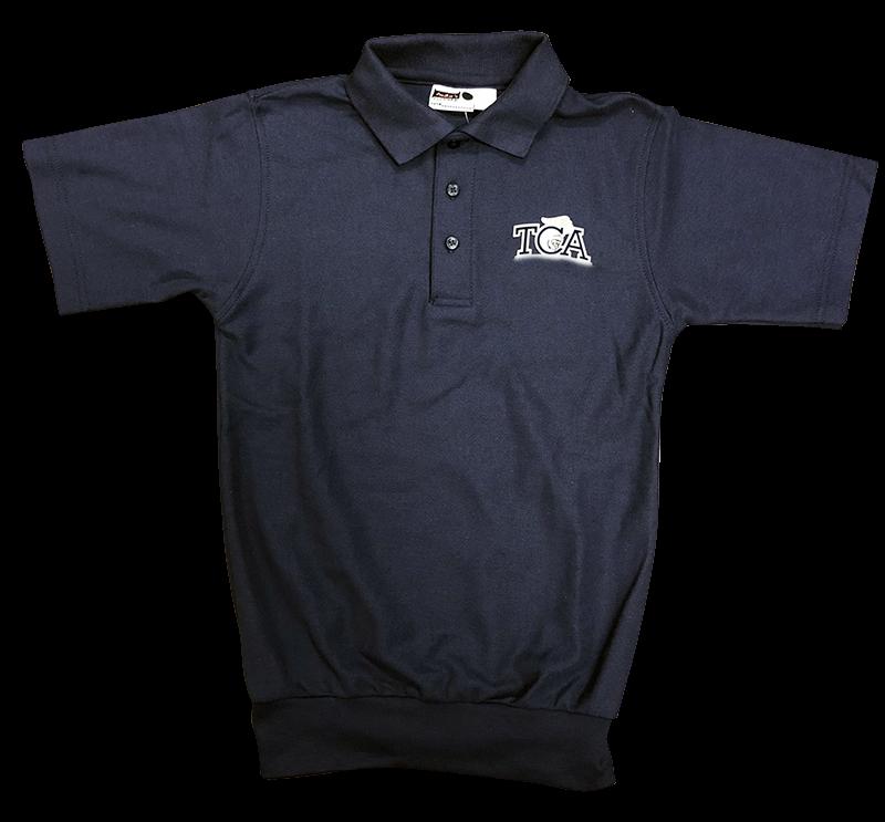 TCA Short Sleeve Banded Bottom Pique Knit: Navy